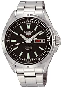 Stainless Steel Seiko 5 Automatic Black Dial Day and Date Display