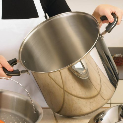 Precise Heat 24Qt 12-Element ''Waterless'' Stockpot With Deep Steamer Basket , 24Qt Stock Pot front-361294