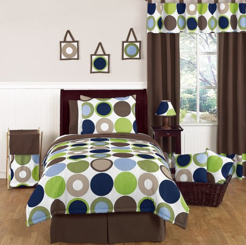green, brown, blue and white dot bedding