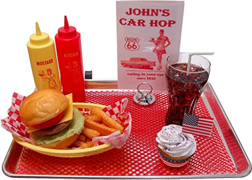 Cheeseburger Fake Food Car Hop Tray (Fake Cheese For Display compare prices)