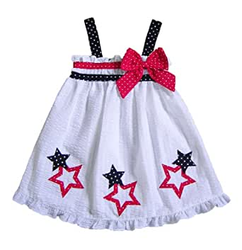 Good Lad Girls 4-6x White Red Bow Stars Applique 4th of July Dress, 6x