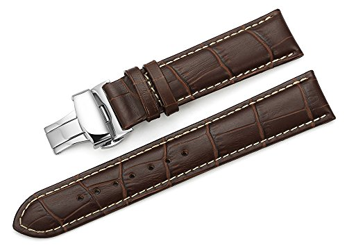 iStrap 22mm Calf Leather Contrastred Stitched Replacement Watch Band Deployment Buckle Strap Brown