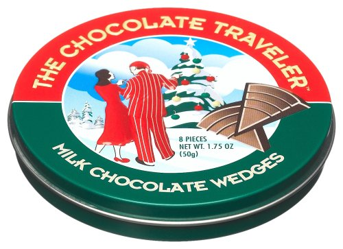 The Chocolate Traveler Christmas Milk Chocolate Wedges, 1.75-Ounce Tins (Pack of 12)