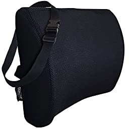 Go Active Lifestyle Memory Foam 3D Ventilative Mesh Lumbar Support Cushion - Back Cushion - BONUS Extension Strap Allows This Support Cushion To Be Used On Virtually Any Chair - Premium Quality - Alleviates Lower Back Pain (Black)