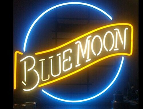 "New FS Neon Sign New Blue Moon Neon Light Sign Display Bar Signage 17x14Neon Light Sign Display Beer Bar Pub Store Club Garrag Dealers Windows Garage Wall Sign 17w""x 14""h"