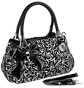 MG Collection TWEED Black & White Floral Design Purse w/Bow Accent