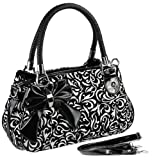 TWEED Black & White Floral w/Bow Satchel Bowler Hobo Handbag Purse Weave Double Handles
