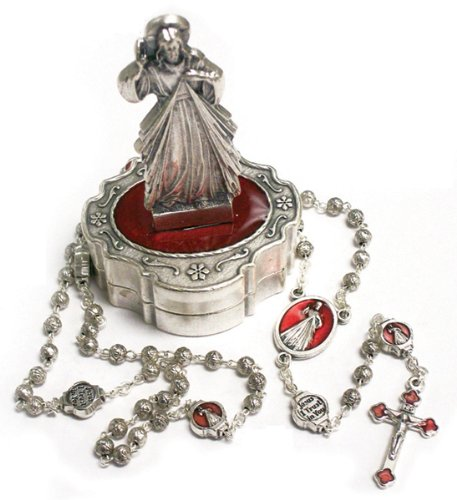 Rosary - 3mm Divine Mercy Metal Rosary - Metal Case - 13.5in. Chain - IMPORTED FROM ITALY