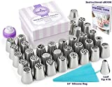 57 pcs Complete Russian Piping Tips Set by Cake&Deco - Cake Decorating Tools Kit - 34 Icing Nozzles + 20 Pastry Bags + Silicone Bag + 2 Couplers - Gift box - Full PDF User Guide & Frosting Recipes
