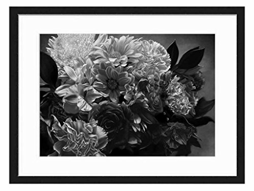 Nice flowers - Art Print Wall Solid Wood Framed Picture (Black & White 20x14 inches)