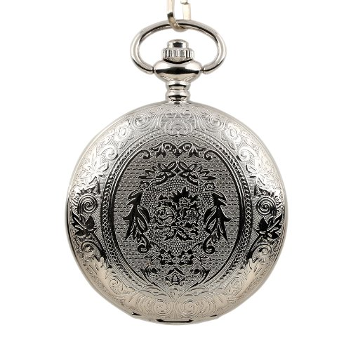 ESS Mens Stainless Steel Pattern Case White Dial Antique Style Pocket Watch with Chain