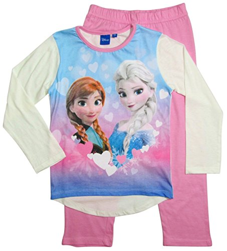 Frozen Pyjama Kollektion 2016 Die Eiskönigin 98 104 110 116 122 128 Schlafanzug Völlig Unverfroren Mädchen Lang Anna und Elsa Neu Creme-Rosa (98 - 104, Creme-Rosa)