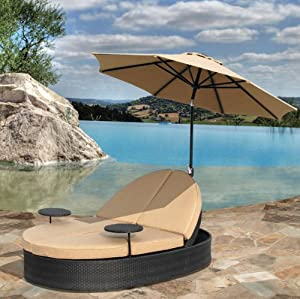 Solara Outdoor Patio Double Chaise Lounge Decorative Bowls P