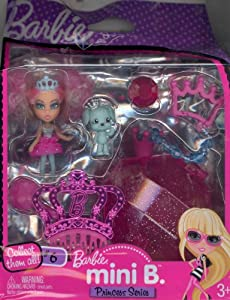 Barbie Mini B. Princess Series Doll #6 with Aqua Dog & Case w/Doll Stand