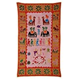 Rajrang Home Décor Embroidered Patch Work Coral Pink Wall Hanging