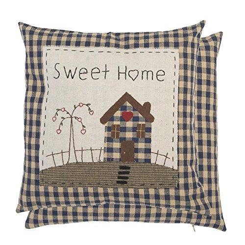 Clayre & Eef, Kissen kariert Sweet Home handbestickt 40x40