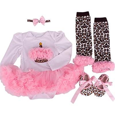 TANZKY® Baby Girls' 4PCS 1st Birthday Tutu Outfit Newborn Princess Dress