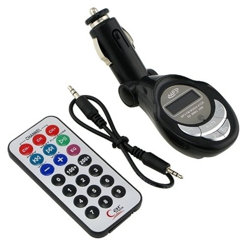 SD/MMC/USB/MP3 Wireless In Car FM Transmitter with Remote (Black)