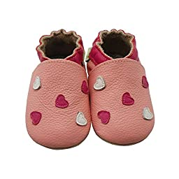 Sayoyo Baby Heart Soft Sole Leather Baby Shoes Baby Moccasins (12-18 months , Pink)