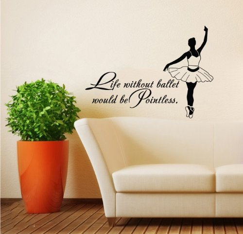 Housewares Wall Vinyl Decal Quote About Dance Life Ballet With Dancer Ballerina Home Art Decor Kids Nursery Removable Stylish Sticker Mural Unique Design For Any Room back-588782