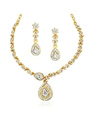Xcite White Stone Golden Color Alloy Necklace Set Set For Women's XPE289