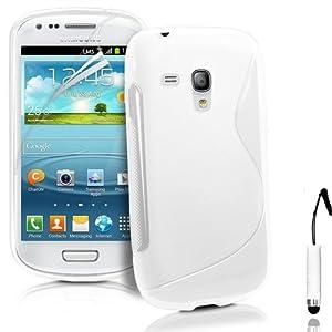 TPU Silicone Gel S-Series Etui Coque Housse Pour Samsung Galaxy S3 Mini Gt i8190 + Mini-Stylet + Protecteur d'écran (Blanc)