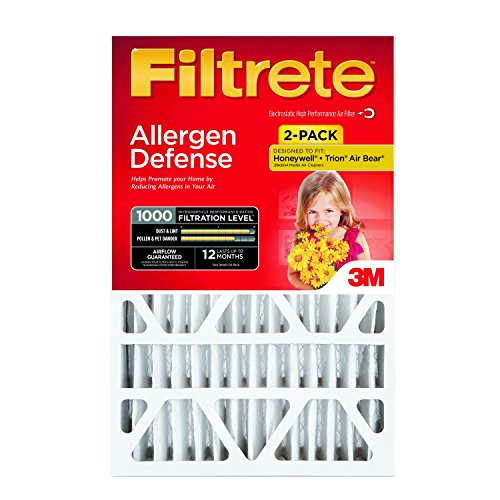 Filtrete Micro Allergen Defense Deep Pleat Filter, MPR 1000, 20-Inch x 25-Inch x 4-Inch (4-3/8-Inch Depth), 2-Pack (20x20 Air Filter Filtrete compare prices)