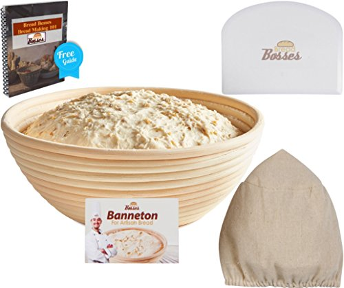 (9 Inch) Banneton Proofing Basket + Free Bowl Scraper & Cloth Liner - Perfect Bread Loaf Shape Flour Round Rising Rattan Wicker Wood Handmade Large Oval Prooving Brotform Set Dough Box (Bread Bowl Mold compare prices)