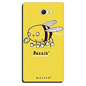 Mozine Buzzin Bee printed mobile back cover for Sony xperia m2