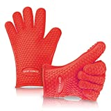 Barbecue Gloves ~ Best Silicone BBQ Grill Gloves Set - Red - High Temperature Cooking Gloves Heat Resistant Insulated Rubber Oven Mitt ~ Works with Charcoal ~ Great for Barbecue Gift Set ~ Better than Ove Glove - Waterproof Barbecue Grip Tool with 5 Fingers - Great for Indoor or Outdoor Cooking, Smoking, and Baking - Better than Weber, OXO, and Leather Mittens - Extra Long Protective Cuff Fits Every Hand Small, Large, and XL - Multi-Purpose Pork Pulling Premium Grilling Mitts - 100% LIFETIME GUARANTEE