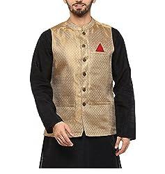 Yepme Men's Gold Blended Nehru Jackets - YPMNJKT0033_M