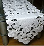 DIAIDI European Rural Table Runner, ModernFlower Table Runner, Pink Off-white Embroidered Tablecloth, Handmade Hollow-out Small Table Runner for Wedding (off-white)