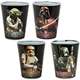 Star Wars Silver Buffalo Characters with Names Mini Glass Set ( 4-Piece set), 1 oz. Each, Black