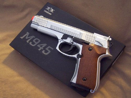 New M945S Airsoft Spring Loaded Cock &#038; Shoot Silver Pistol Gun, Wood Grain Style Handle