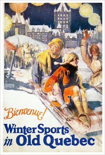Bienvenue! Winter Sports in Old Quebec (Canadian Pacific) Vintage Art Poster Print