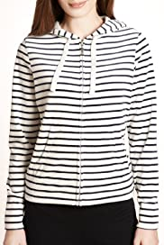Cotton Rich Striped Hooded Velour Top [T51-1660-S]