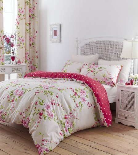bettw sche herrliche baumwolle einzel rot rosa rosen blumenmuster wendbare shabby chic bettbezug. Black Bedroom Furniture Sets. Home Design Ideas