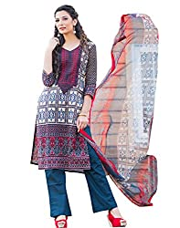 IndiWeaves Women Cotton Printed Blue Dress Material