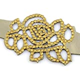 Golden Sun Rose Crystal On Faux Suede Band Bracelet With Button Clasp