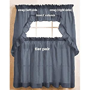 Slate Blue Stacey Solid Color Ruffled Insert Curtain Valance