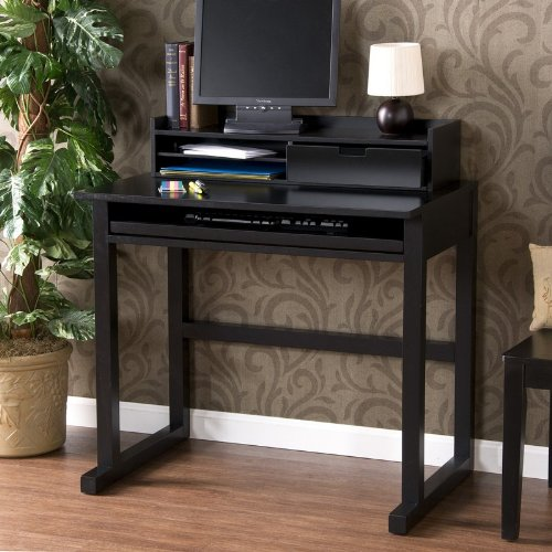 Home Office Computer Desk with Paper Shelf and Drawer in Black