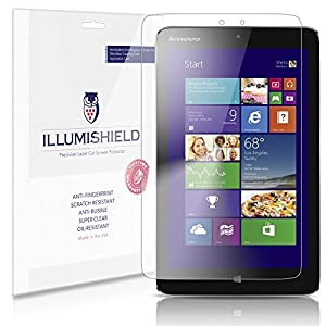 """iLLumiShield - Lenovo Miix2 8"""" Screen Protector Japanese Ultra Clear HD Film with Anti-Bubble and Anti-Fingerprint - High Quality (Invisible) LCD Shield - Lifetime Replacement Warranty - [2-Pack] OEM / Retail Packaging"""