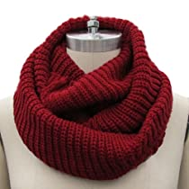 Eyourlife Christmas Women Men Winter Cable Knit Wool Circle Cowl Infinity Scarf Collar Shawl Red