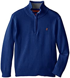 IZOD Big Boys\' Long Sleeve Solid 1/4 Zip Sweater, Medium Blue, Small
