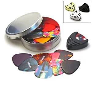 broke Guitar Picks Celluloid 0.46-1.20mm 25-Pack w/ Pick Holder in Tin