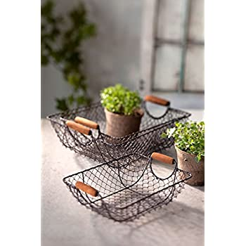 Vagabond Vintage, Set of Three Nesting Wire Baskets with Wooden Handles