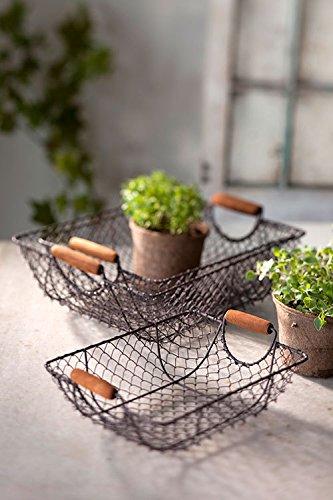 Vagabond Vintage, Set of Three Nesting Wire Baskets with Wooden Handles 0