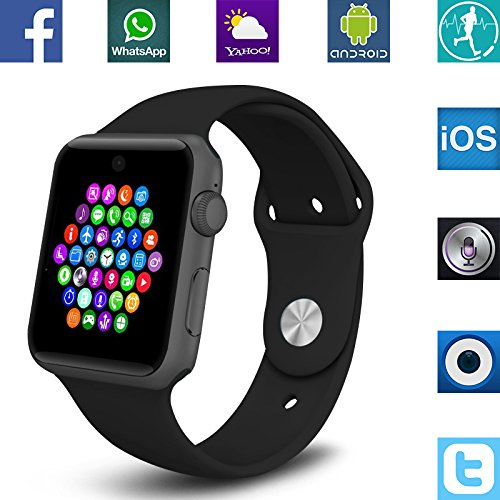 Banaus®BS19 Montre connectée avec Bluetooth 4.0 SmartWatch Support SIM Watch Phone pour Android Samsung Galaxy S5/S6/S7/Note3/Note4/Note5/Note6 Sony LG Huawei ZUK and iPhone 5/5C/5S/6/6S Black