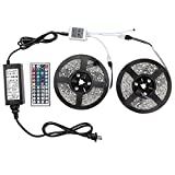 WenTop® Led Strip Lights Kit SMD 5050 Waterproof 32.8 Ft (10M) 300leds RGB 30leds/m with 44key Ir Controller and Plug-in Power Supply for Pool, Car, Truck, Camper,Boat,Kichen Counter and More