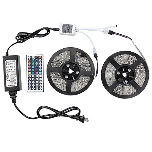 WenTop Led Strip Lights Kit SMD 5050 Waterproof 32.8 Ft (10M) 300leds RGB 30leds/m with 44key Ir Controller and Plug-in Power Supply for Pool, Car, Truck, Camper,Boat,Kichen Counter and More (Led Car Strip Light Line compare prices)